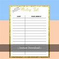 Mailing List Template Printable | Etsy | Mailing list ...