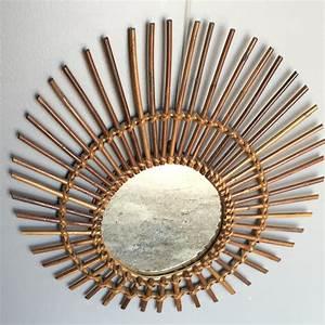 Miroir En Rotin : miroir soleil en rotin lignedebrocante brocante en ligne ~ Nature-et-papiers.com Idées de Décoration