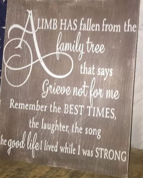 memory ls for deceased a limb has fallen from our family tree sign personalized