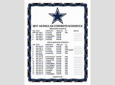 Printable 20172018 Dallas Cowboys Schedule