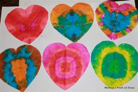 Line the cookie sheet with some parchment paper. Tie Dye Hearts. You can even use regular Crayola markers ...