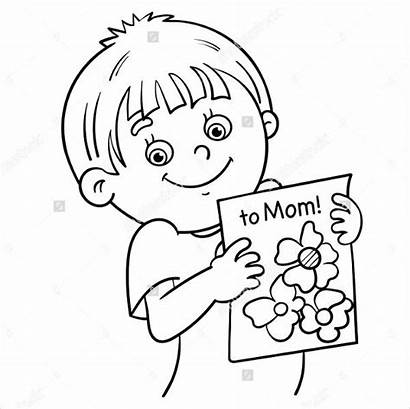 Coloring Mothers Boy Pages Cartoon Outline Drawing