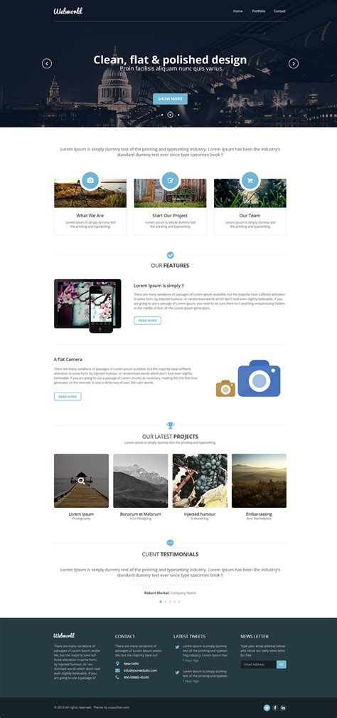 professional  corporate web design template psd css