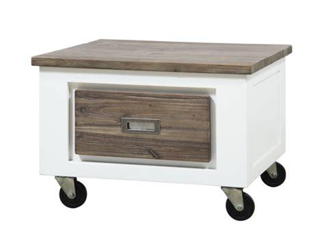 canapé en promo bout de canape 1 tiroir white blanc acacia