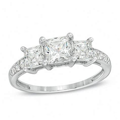princess cut lab created white sapphire  stone ring