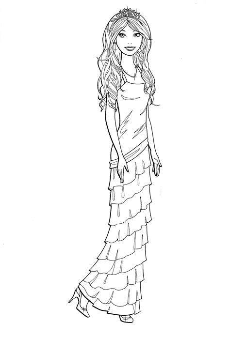 coloring page barbie   elegant dress