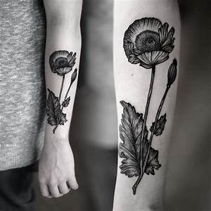 Black poppy forearm tattoo - Tattooimages.biz