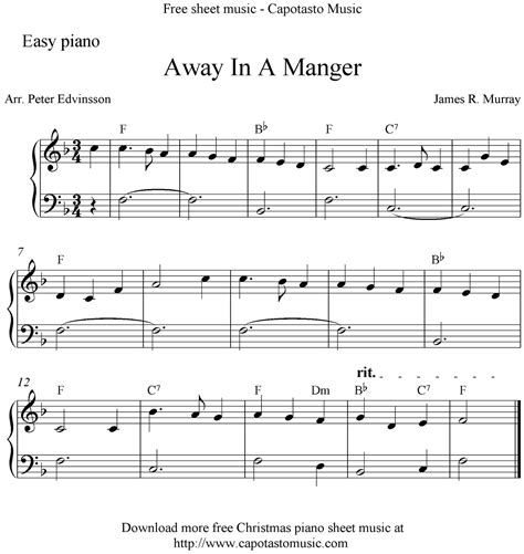 There is an excellent selection of christmas sheet music. Easy free Christmas piano sheet music, Away In A Manger