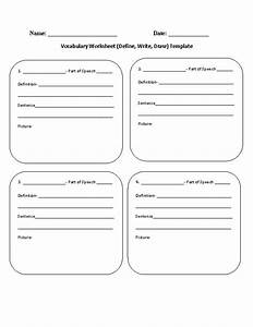 vocabulary worksheet definewritedraw template With vocabulary words worksheet template