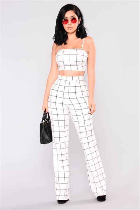 melva set pant by bmcg fashion line by line pant set white black
