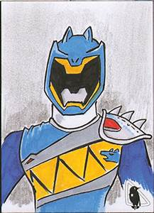 Blue Kyoryuger Ranger Sketch Card by invaderjes on DeviantArt