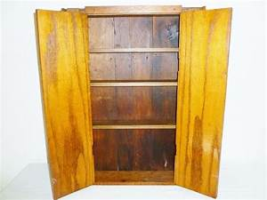 vintage folk art oak wall cabinet from cliffwoodantiques With kitchen cabinets lowes with folk art wall hangings