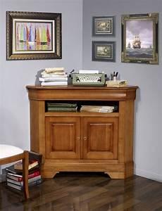 Meuble Angle Bois : meuble d 39 angle tv 2 portes en merisier massif de style ~ Edinachiropracticcenter.com Idées de Décoration