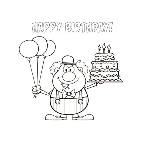 happy birthday coloring pages  psd jpg gif
