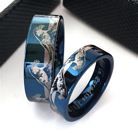matching rings tungsten wedding band wave ring ocean ring mens wedding band tungsten