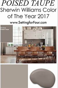 Sherwin williams poised taupe color of the year 2017 for Kitchen cabinet trends 2018 combined with portrait canvas wall art