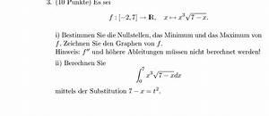 Minimum Maximum Berechnen : minimum f x x 3 7 x 1 2 berechnen sie nullstelle ~ Themetempest.com Abrechnung