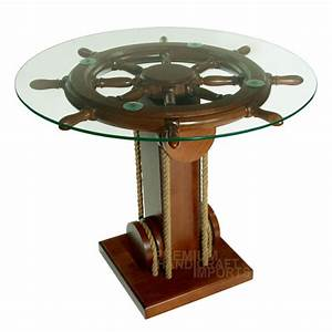 28quot ship wheel coffee table with glass top nf0002w ebay for Glass top coffee table with wheels