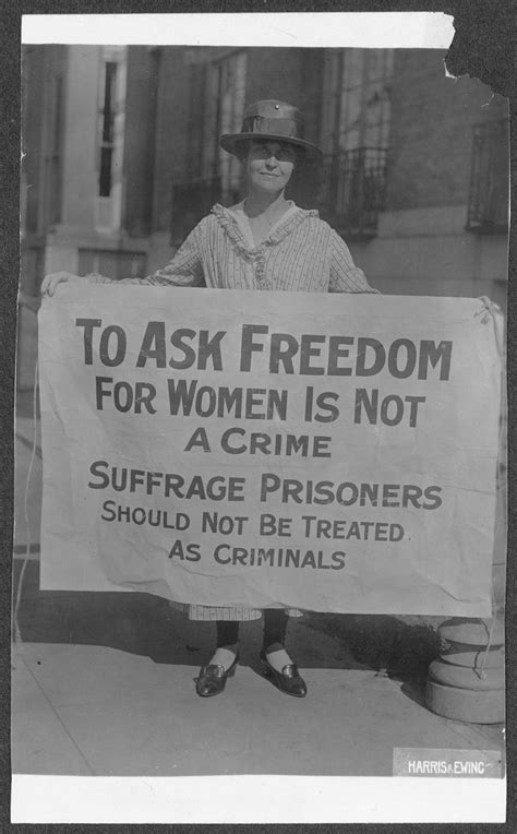 mary winsor penn  holding suffrage prisoners banner