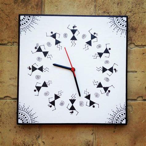 warli wall clock painted handmade painting hand colourful tfod clocks madhubani bottle worli india