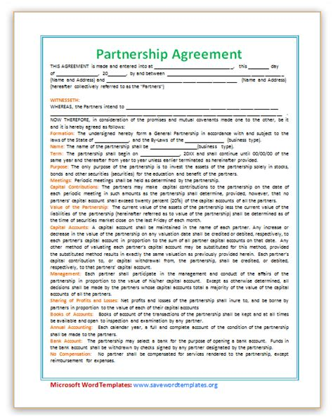 partnership agreement template word partnership agreement template save word templates