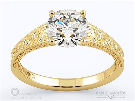 yellow gold engagement wedding ring collection cape diamonds