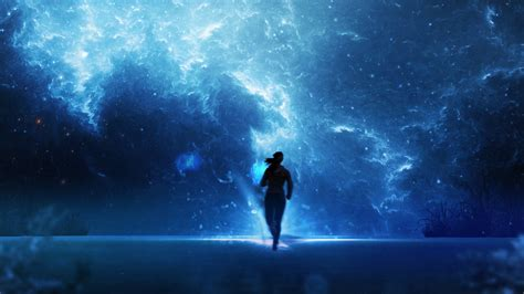 Download Wallpaper 1920x1080 Silhouette, Space, Running