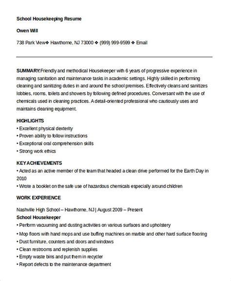 Housekeeper Resume by Housekeeping Manager Resume