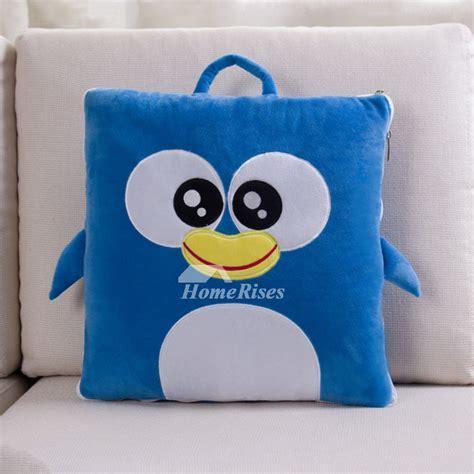 Kids Cute Animal Velvet Couch Small Blue Throw Pillows
