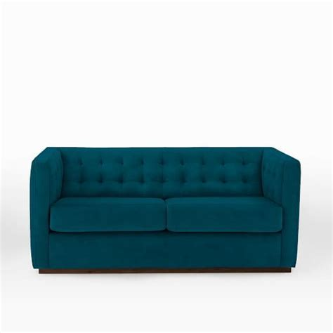 West Elm Rochester Sofa by Rochester 67 5 Quot Loveseat Performance Velvet Ink Blue