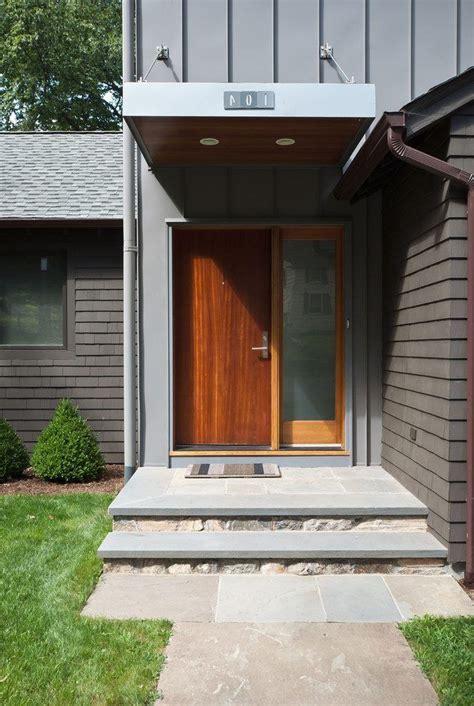 front door steps ideas entry modern  wood overhang