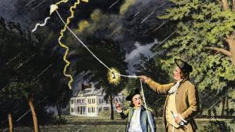 Image result for Benjamin Franklin experimented by flying a kite during a thunderstorm