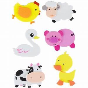 juego figuras goma eva adhesiva en 3d con animales de granja