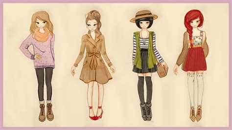 Drawing Tutorial - How to draw 4 Fall Outfits - YouTube