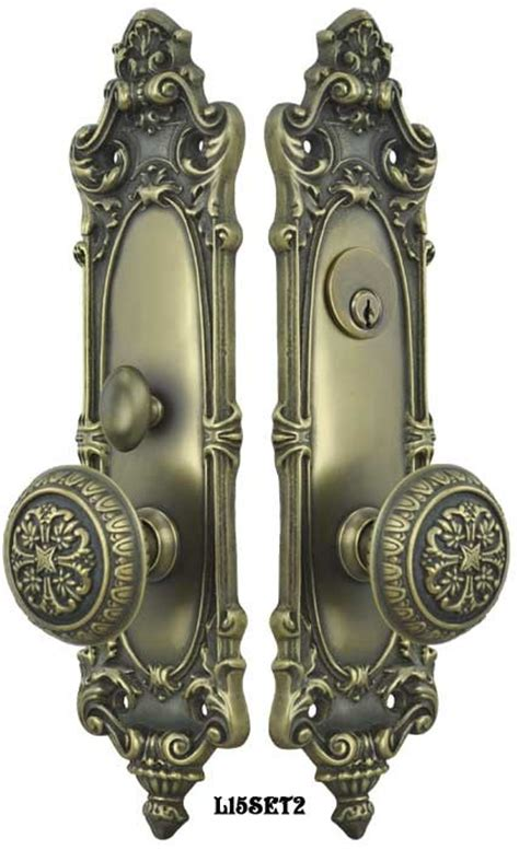 vintage hardware lighting victorian rococo yale pattern  gothic knob entry door set