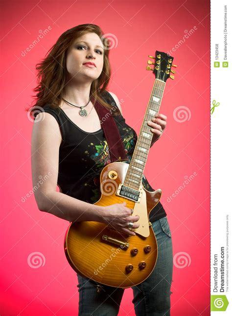 rocker girl musician electric guitar player royalty