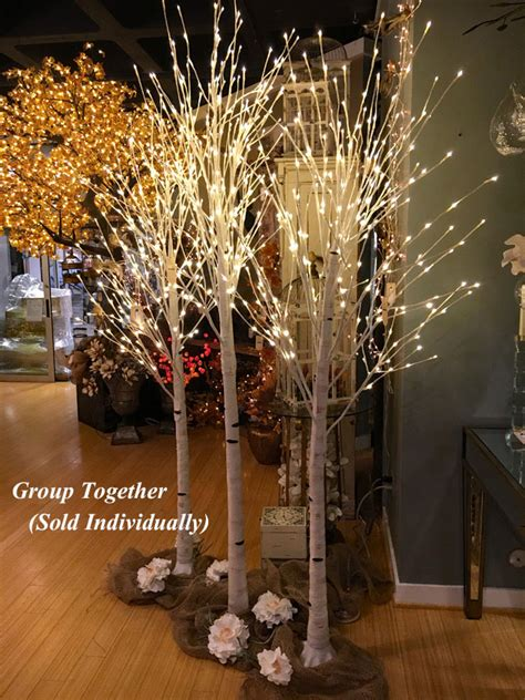 foot white birch tree  warm white leds