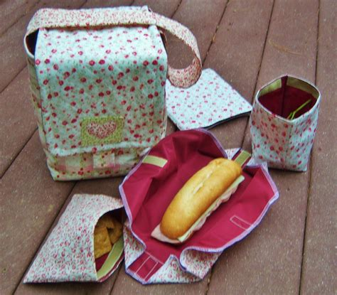 insulated lunch sack sewing pattern with sandwich snack