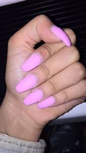 Nail Art: Light Pink Barbie Matte Coffin Shape Acrylic ...