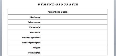 Biografie Vorlage Beispiel by Vorlage Demenz Biografiebogen Word