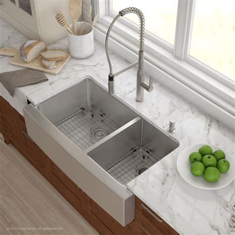kitchen with farmhouse sink kraus khf20336 36 inch farmhouse 60 40 bowl kitchen 6509