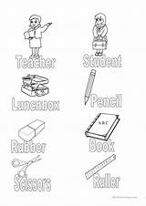 Classroom Objects Colouring Esl Learning Vocabulary sketch template