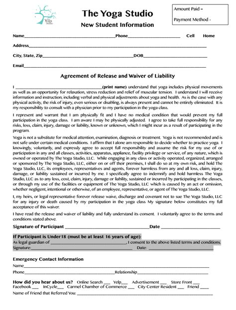 waiver template new student consent form indianapolis center