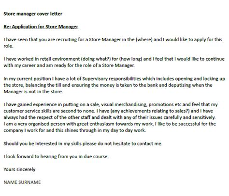 store manager cover letter  icoverorguk