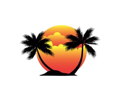 coconut tree logo design sunset beach island coconut