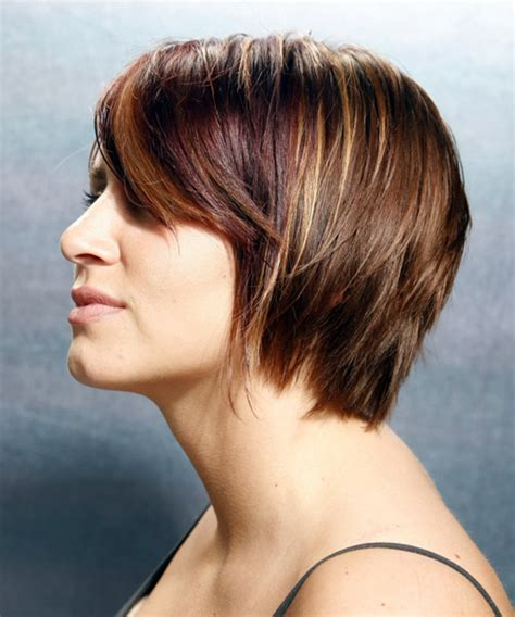 short straight chestnut hairstyle  side swept bangs