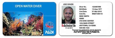scuba diver training  official padi identification