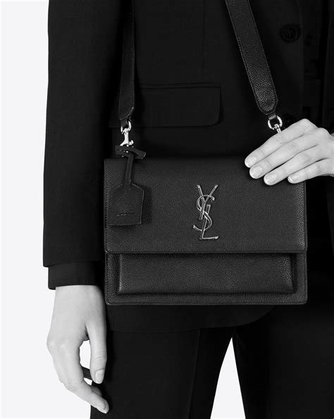 lyst saint laurent medium sunset monogram leather shoulder bag  blue