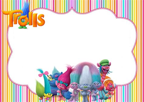 printable trolls party invitation invitations