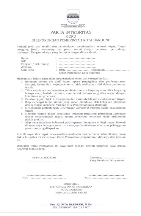 Contoh Surat Pernyataan Cpns Kemenkes by Contoh Surat Pernyataan Pakta Integritas Cpns Contoh Stop